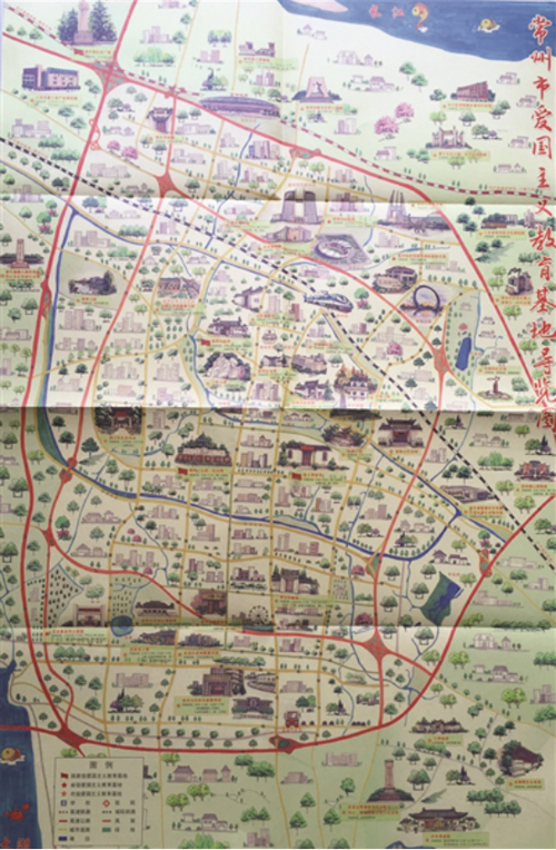 手绘地图形式制作了《常州市爱国主义教育基地导览图